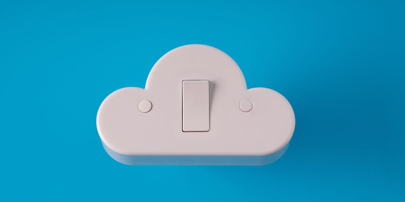 Cloud technology icon on colorful & creative background for online and offline concept